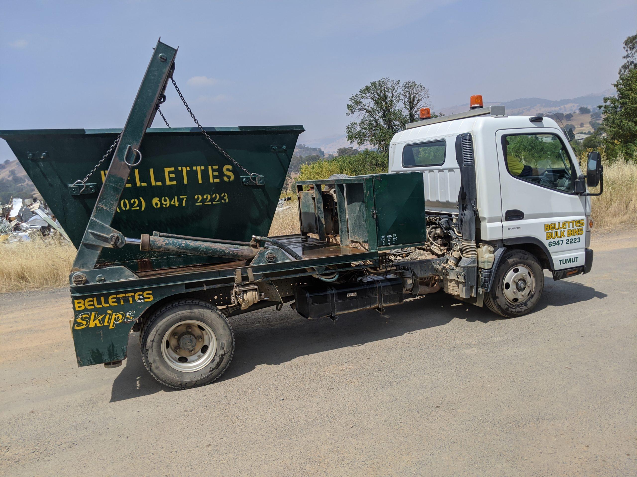 Small truck with skip bin ready for delivery. Bellette's Bulk Bins